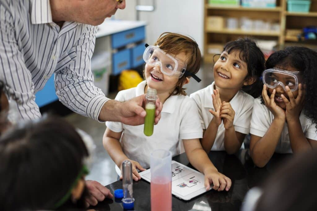 Kindergarten Students Learning in Science Experiment Laboratory
